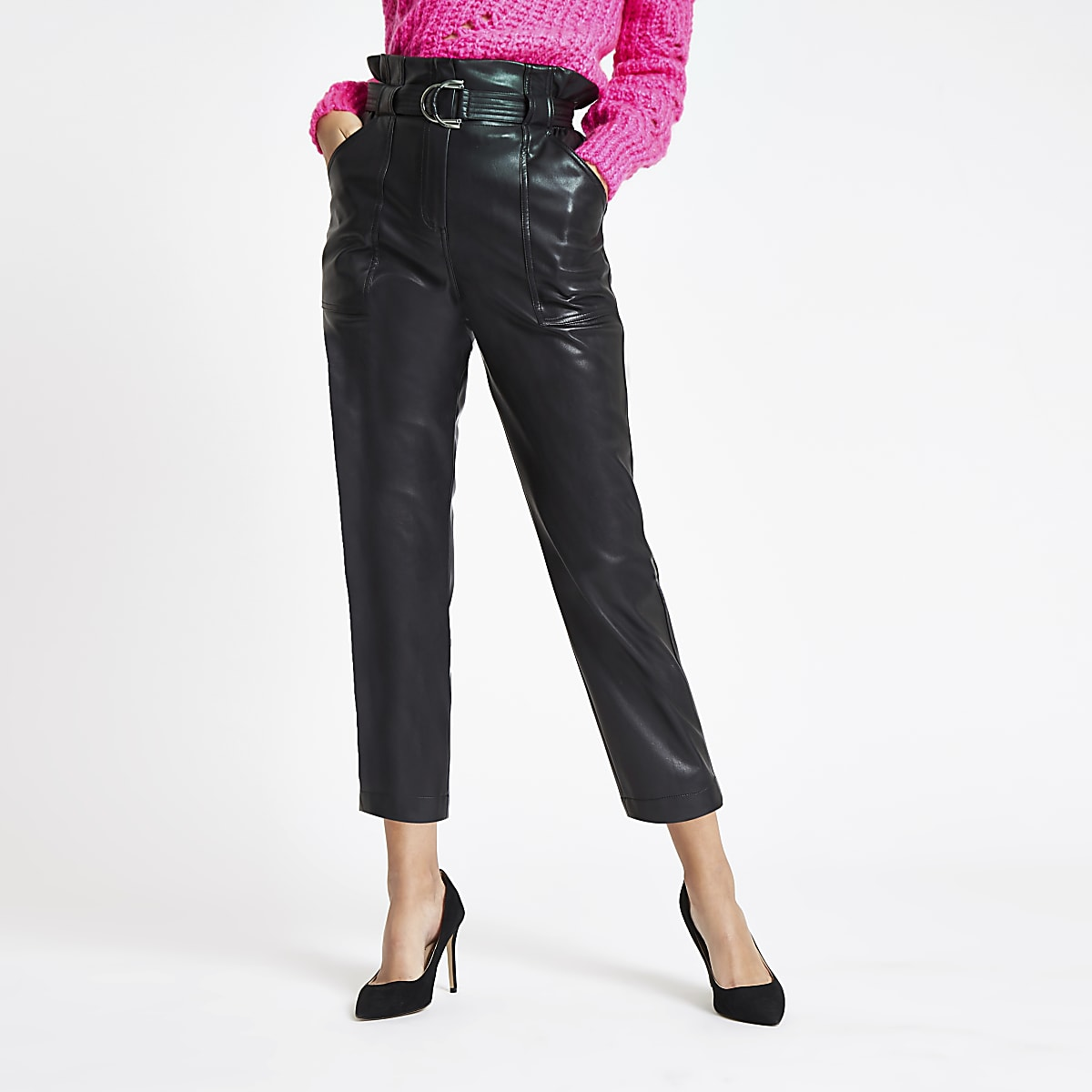 autumn shoes purchase authentic hot sale online Black faux leather paperbag waist trousers