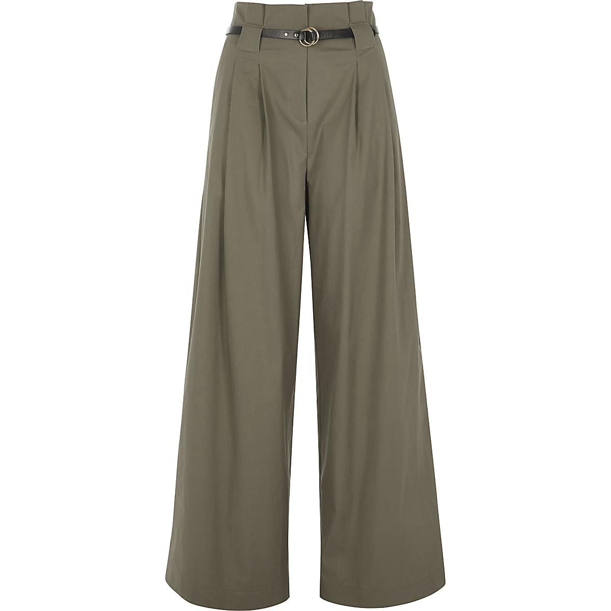 Khaki high waisted belted wide leg pants