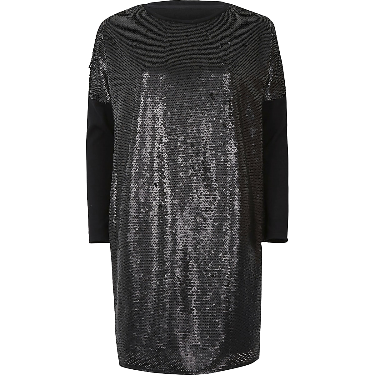 c24f61518e92 Black sequin oversized long sleeve T-shirt - T-Shirt Dresses - Dresses -  women
