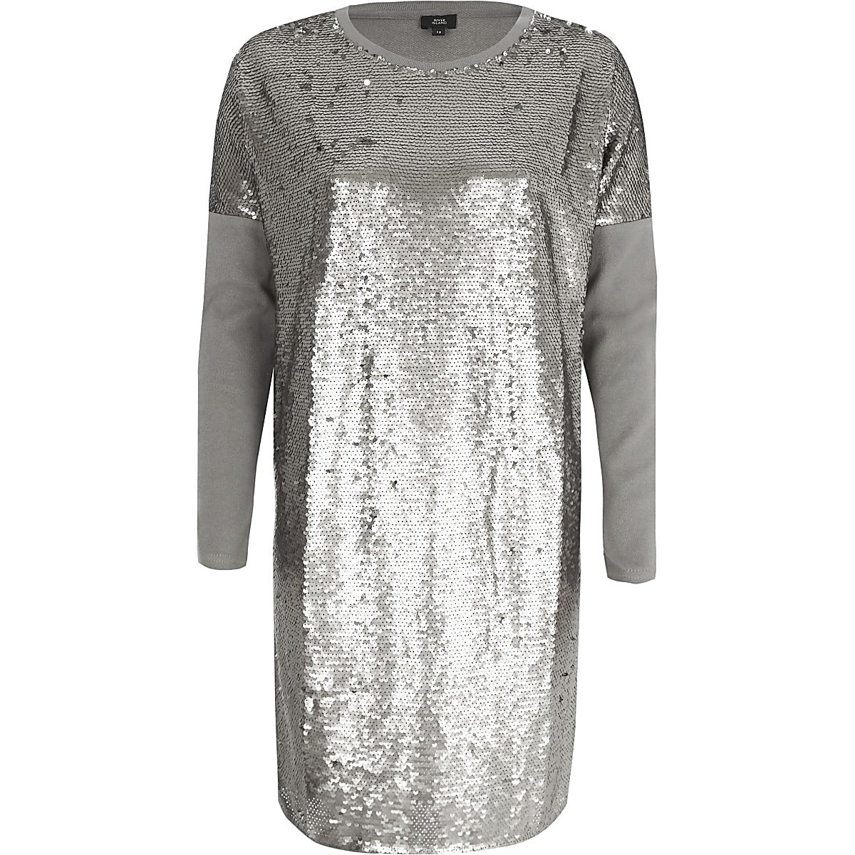 Silver sequin oversized long sleeve T-shirt