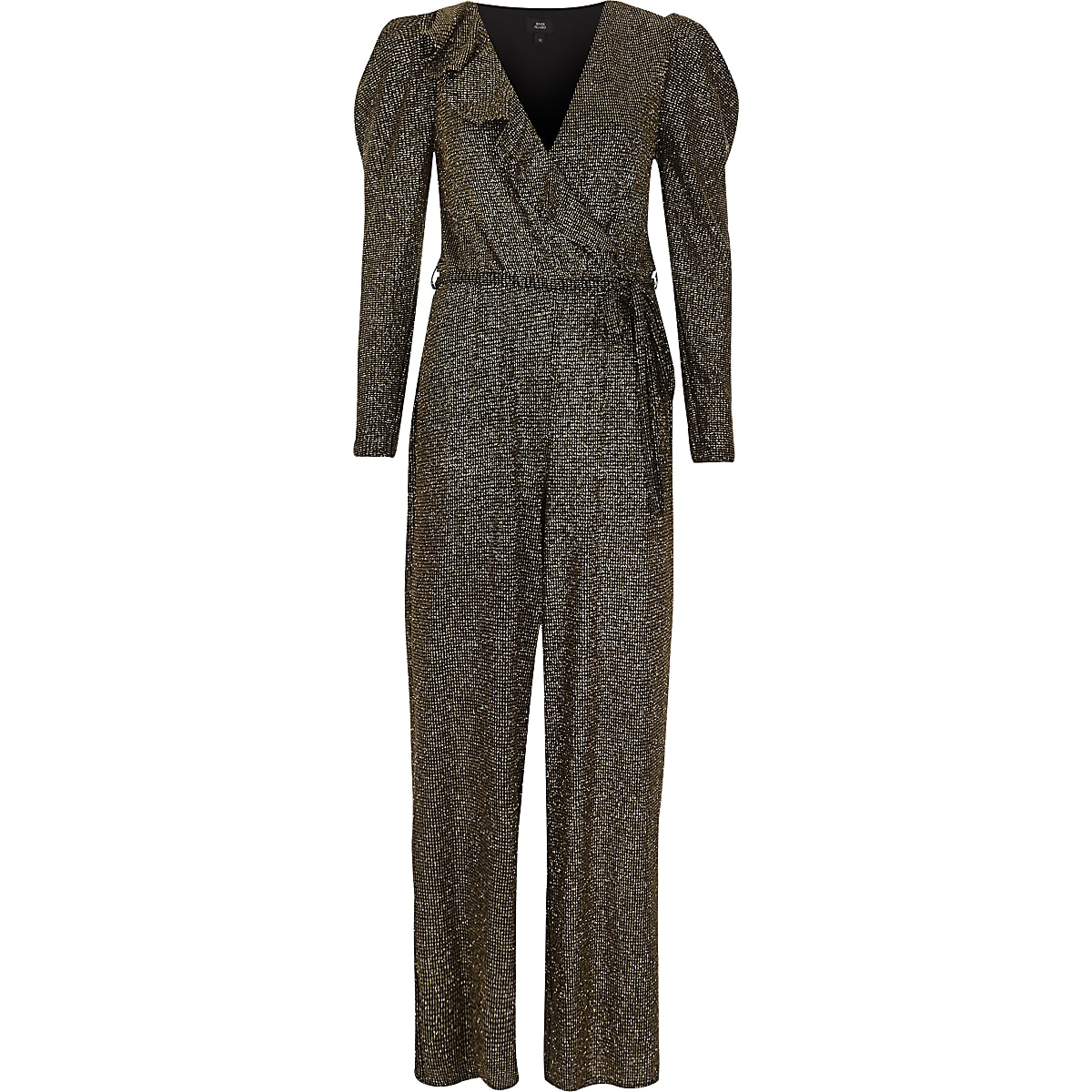 94e13fe15d79f Gold metallic glitter frill wrap jumpsuit - Jumpsuits - Playsuits &  Jumpsuits - women