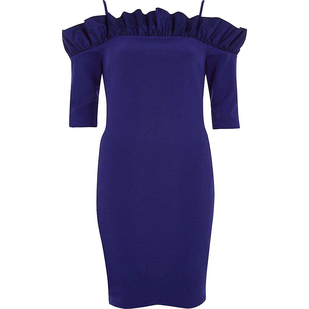 5ae41507fc714d Blauwe mini-jurk in bardotstijl met ruches - Bodyconjurken - Jurken ...