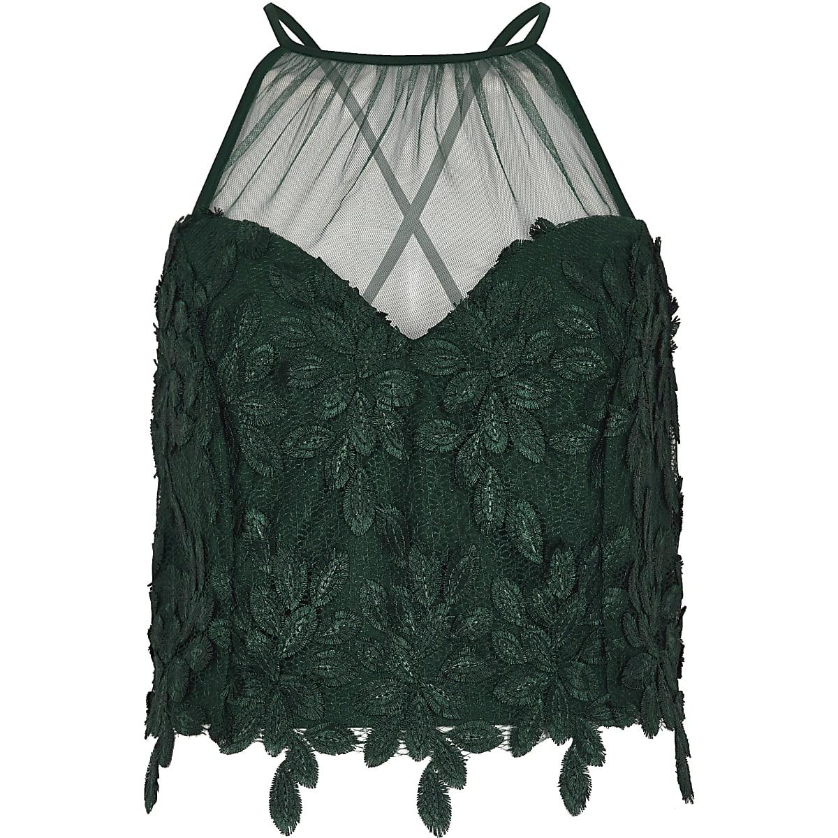 Green leaf lace mesh insert bralet