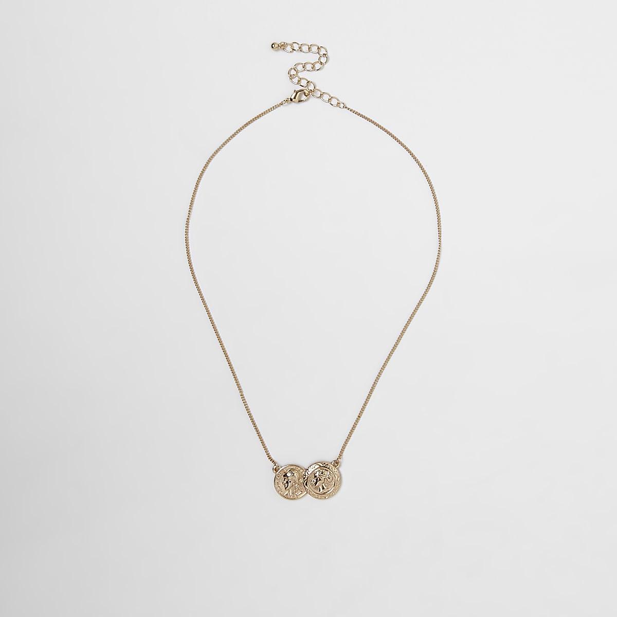 Gold colour double coin necklace