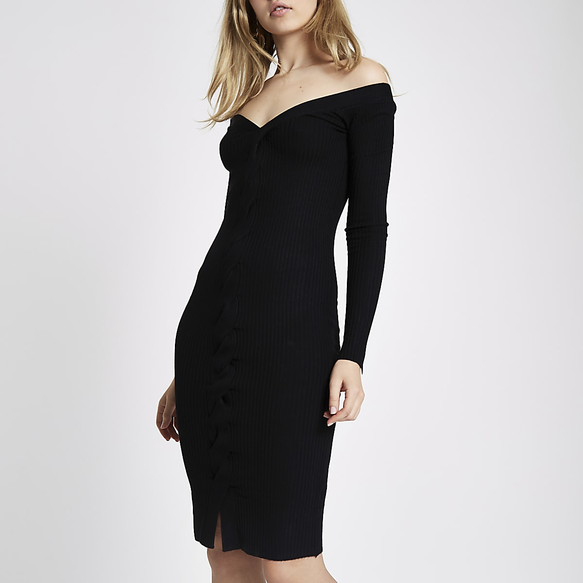 2d216e33a78 Black cable knit cut out midi dress - Bodycon Dresses - Dresses - women