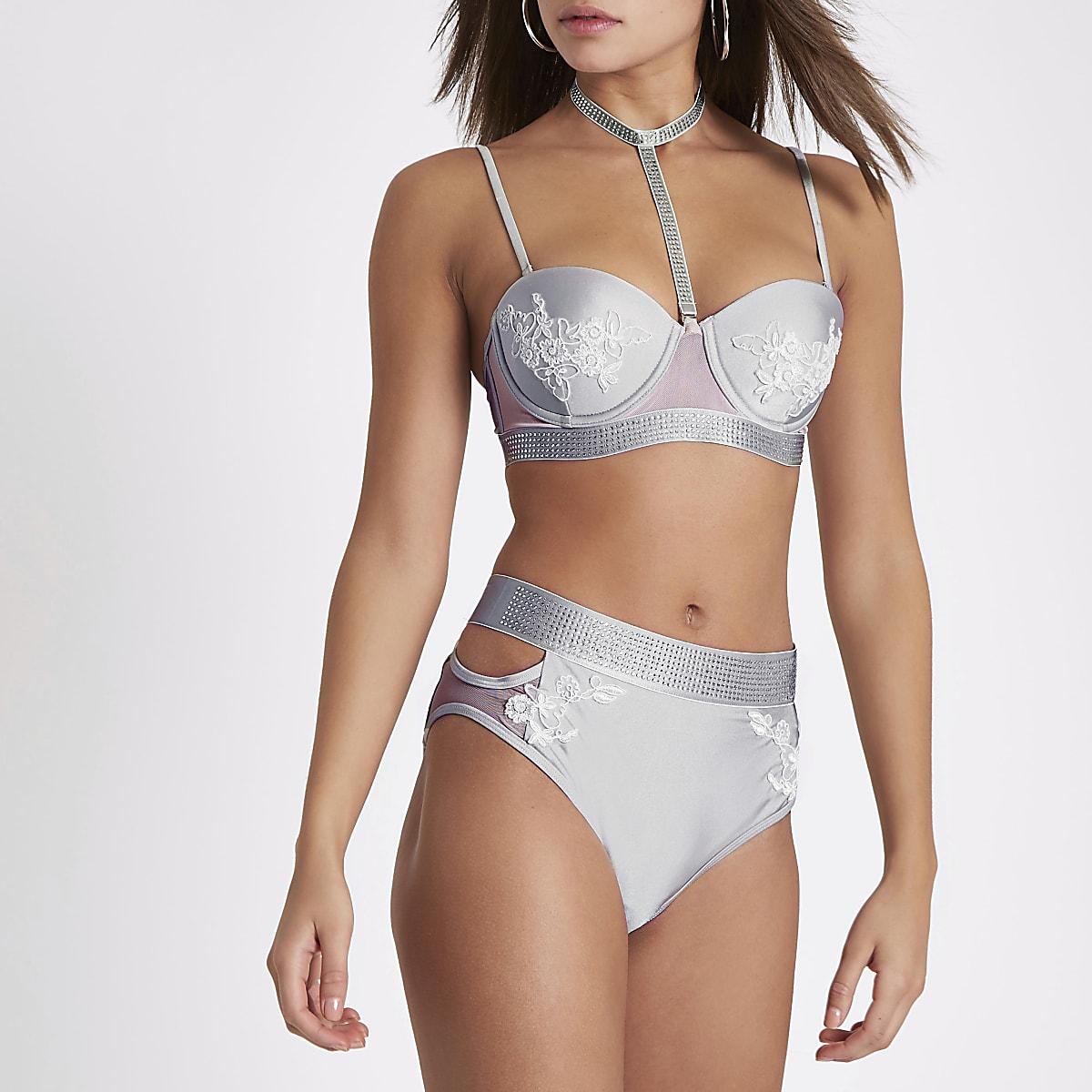 8d118acf27f5f Silver diamante high waisted bikini bottoms - Bikini Bottoms - Bikinis -  Swimwear & Beachwear - women