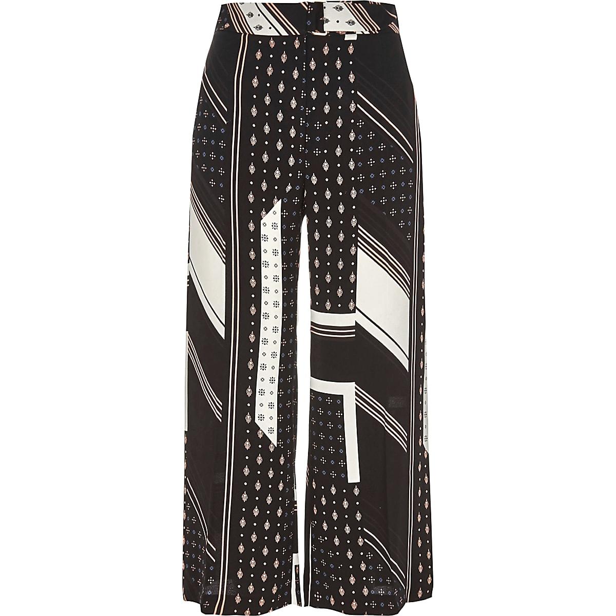 Black tile and stripe print belted culottes