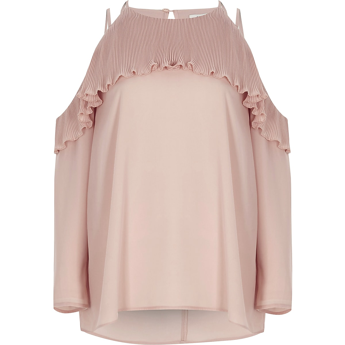 Light pink cold shoulder pleated frill blouse