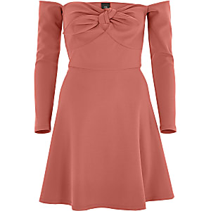 Dark orange bardot long sleeve skater dress