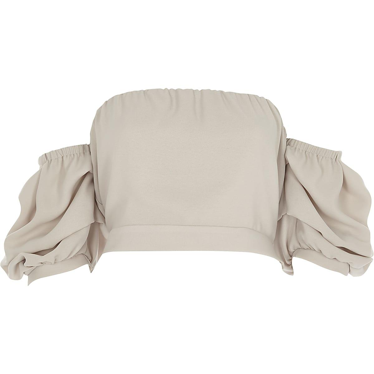Beige puff sleeve bandeau crop top