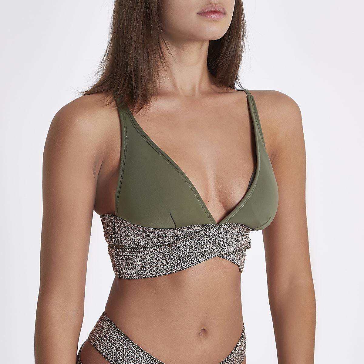 Khaki metallic strappy triangle bikini top