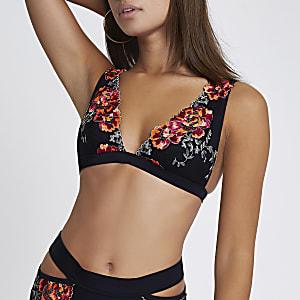 Black floral embroidered triangle bikini top