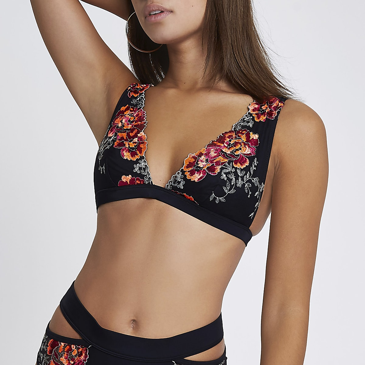Black floral embroidered triangle bikini top