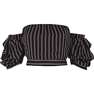 Navy stripe puff sleeve bardot crop top
