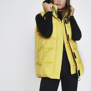 Yellow double layer puffer gilet