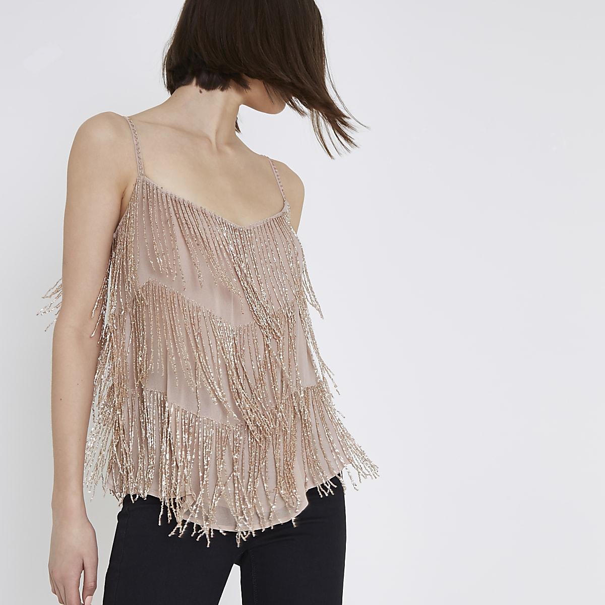 40680aa0be202c Pink beaded cami top - Cami / Sleeveless Tops - Tops - women