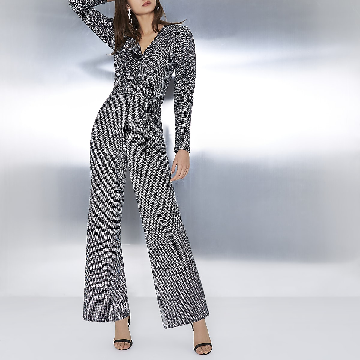Silver glitter wrap frill belted jumpsuit
