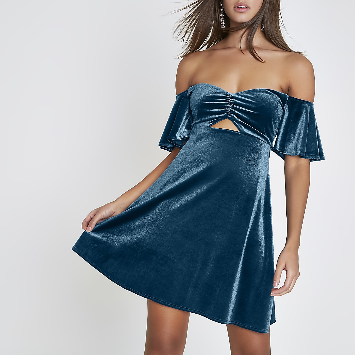Teal velvet cut out bardot mini dress