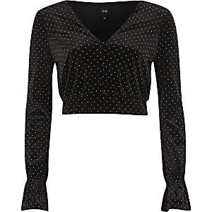 Black studded velvet long sleeve crop top