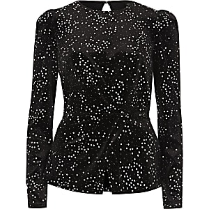 Black metallic velvet puff sleeve top