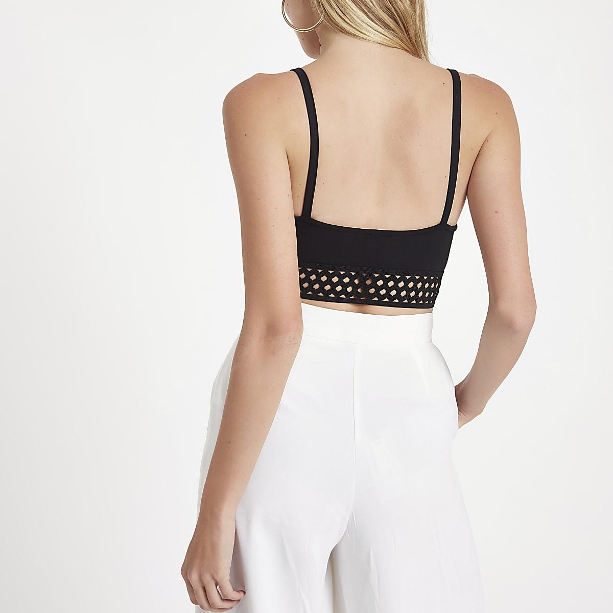 ac541445385a2a Black lace applique mesh band bralet - Crop Tops   Bralets - Tops ...