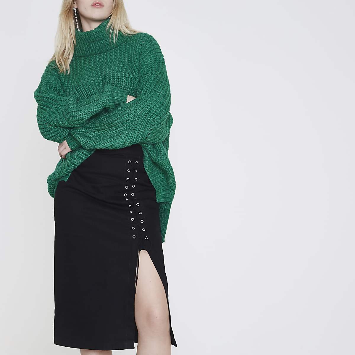 Black lace-up split denim pencil skirt