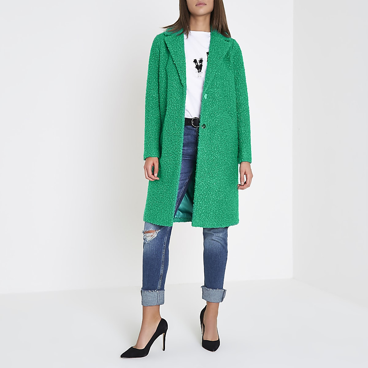 Green boucle coat
