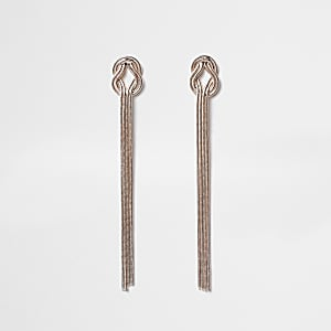Rose gold colour snake knot drop earrings