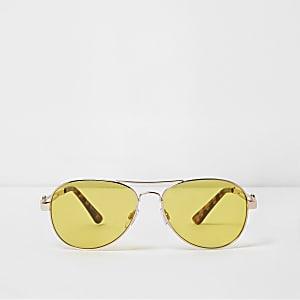 Lunettes de soleil aviateur dorées avec verres jaunes