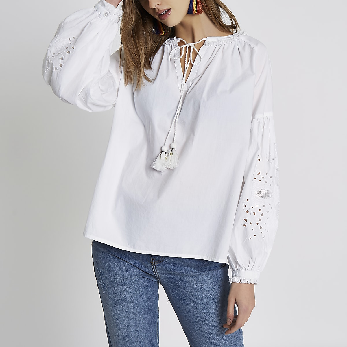 c9a171a03c8c46 White tassel detail broderie sleeve top - Blouses - Tops - women