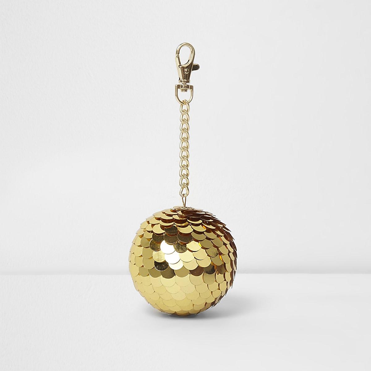 Gold sequin disco ball keyring