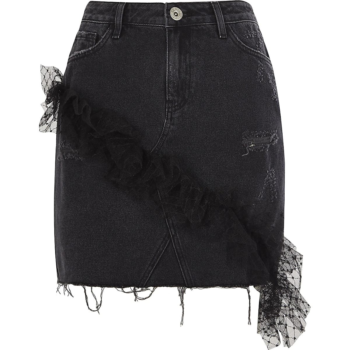 Black mesh frill denim mini skirt