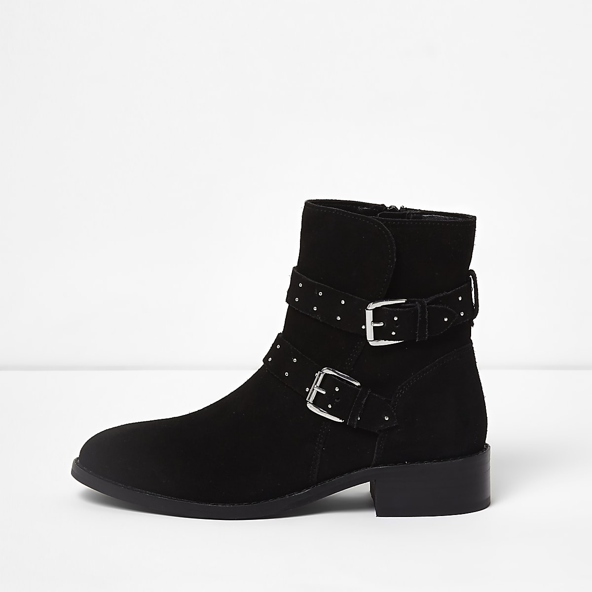13054e781 Black suede studded buckle ankle boots - Boots - Shoes & Boots - women