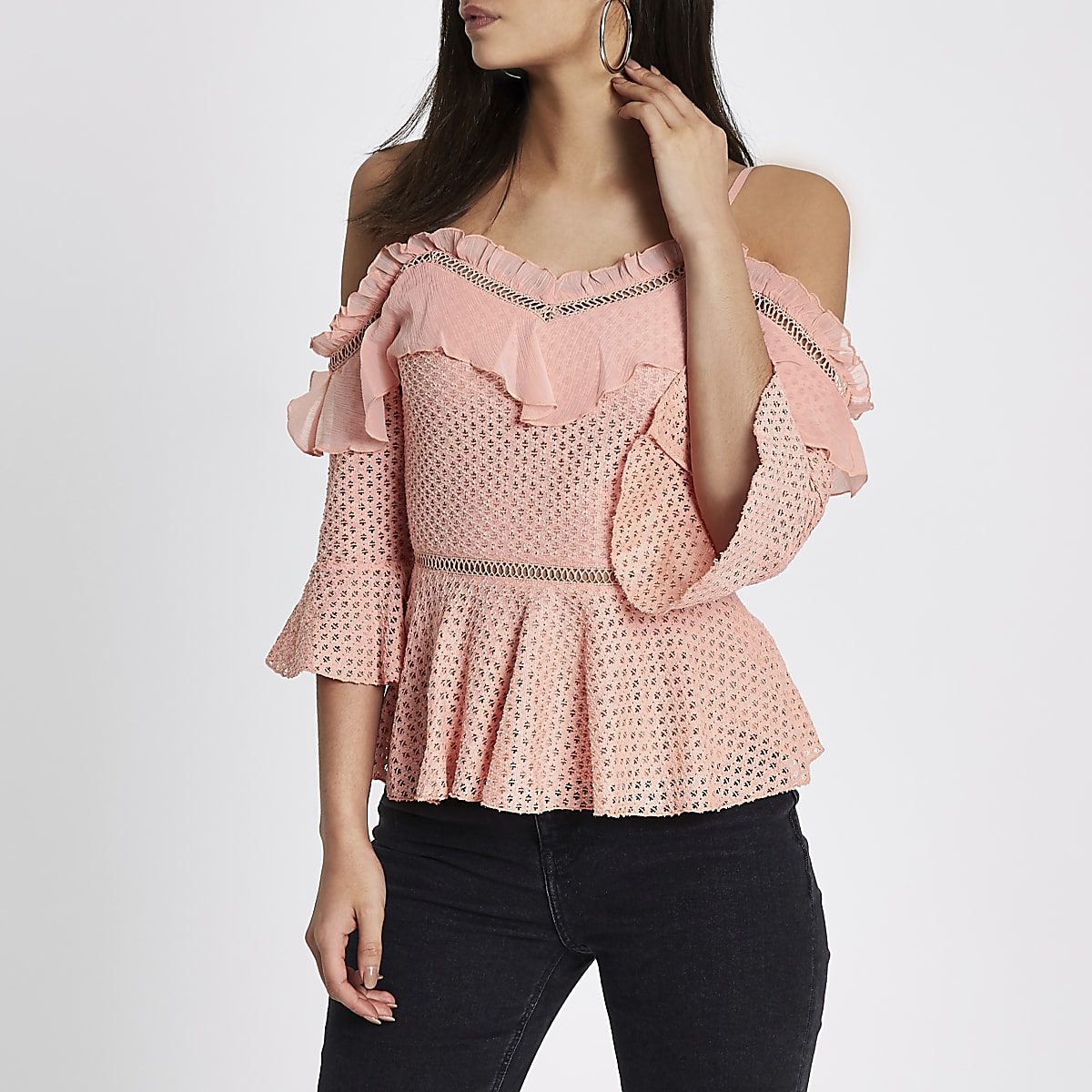 Peach lace frill cold shoulder peplum top