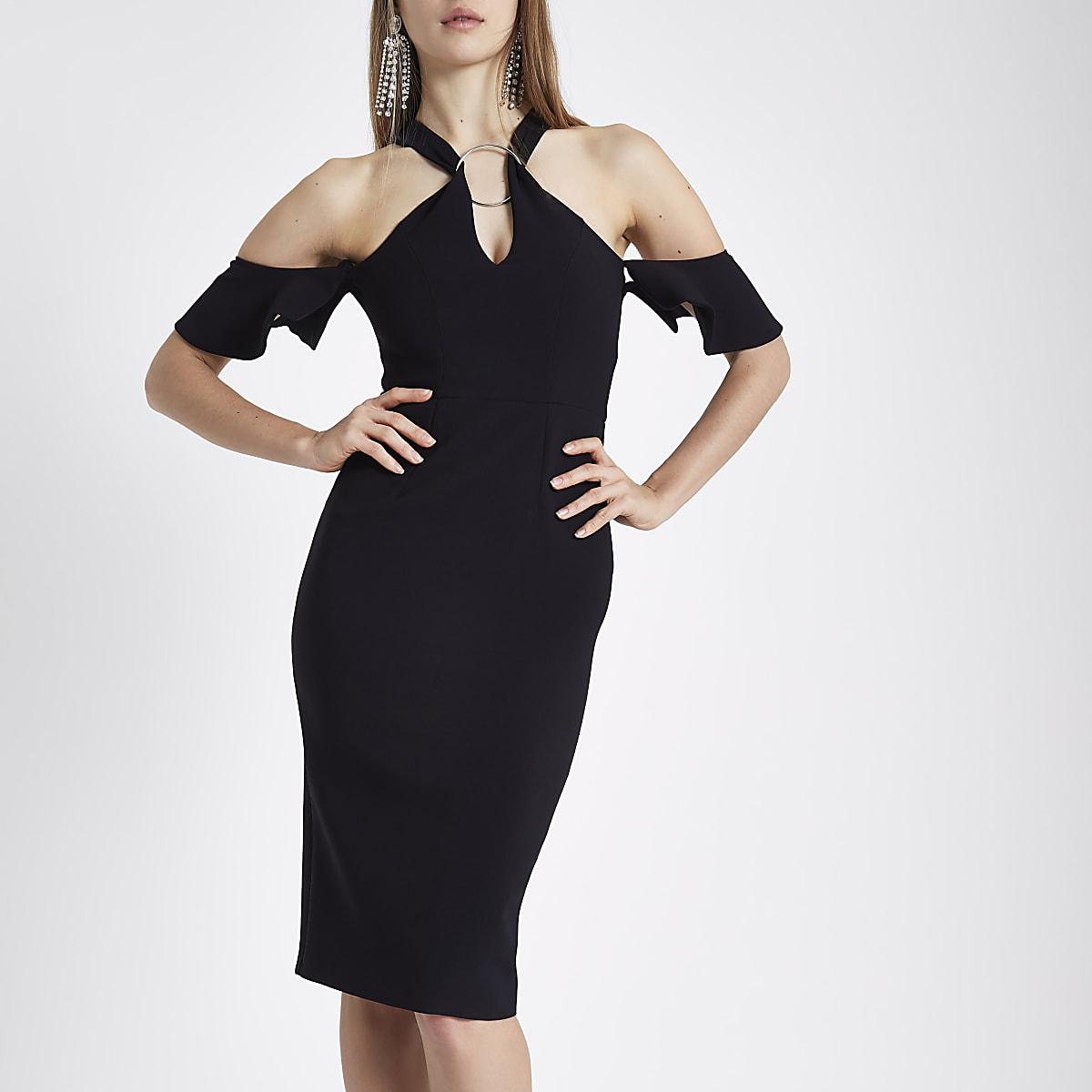 Black ring front bodycon midi dress