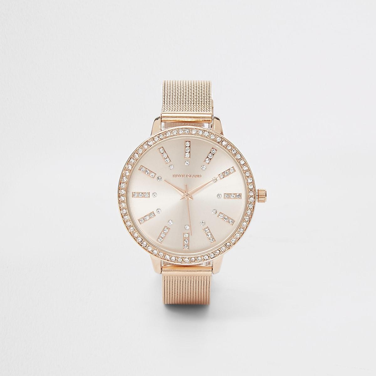 Rose gold tone mesh strap round watch