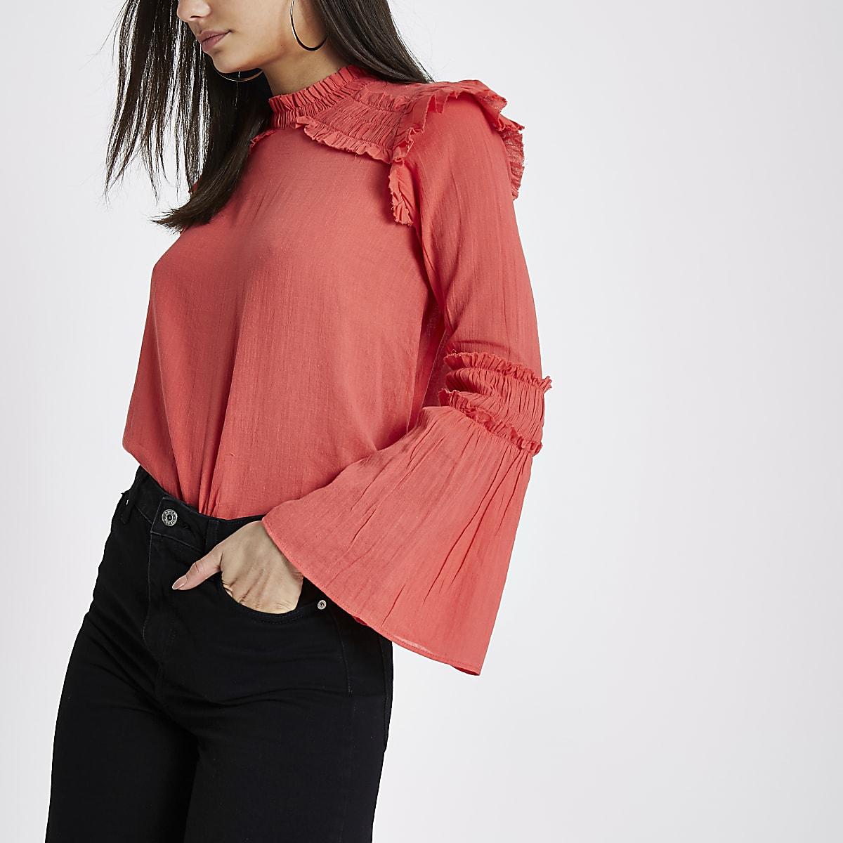 Coral pink frill shoulder bell sleeve blouse
