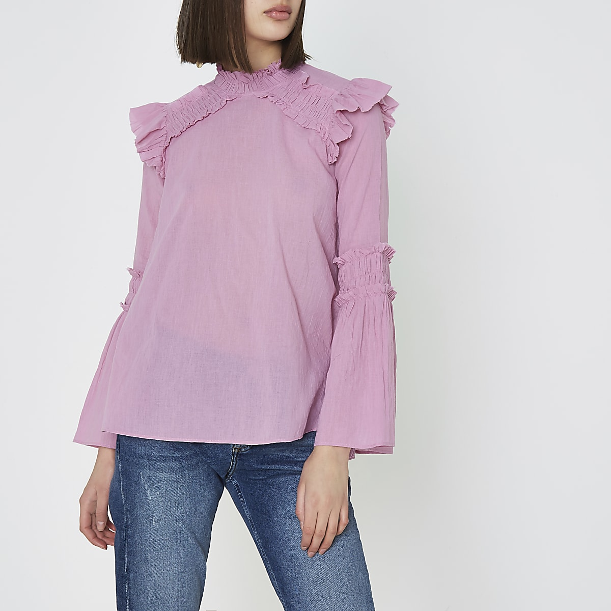 Pink shirred frill high neck blouse
