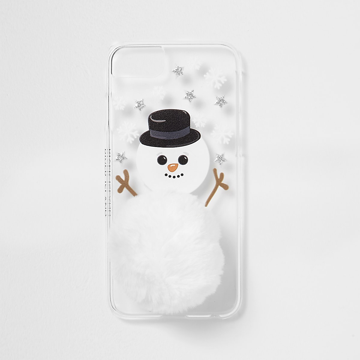 White snowman pom pom phone case