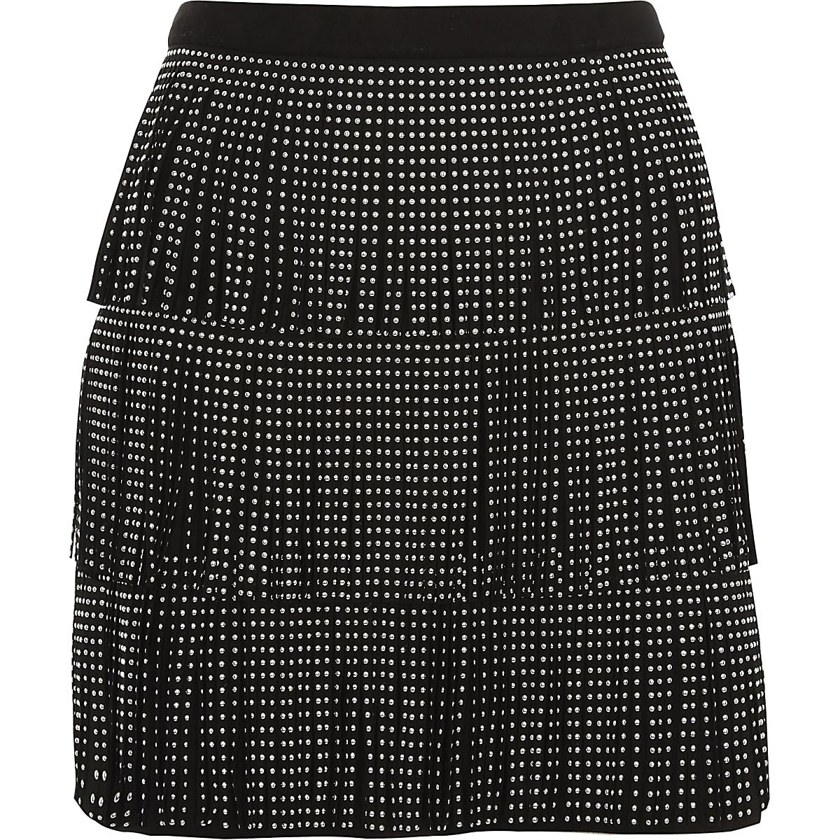 fda7ebe2be Black studded fringe faux suede mini skirt - Mini Skirts - Skirts - women