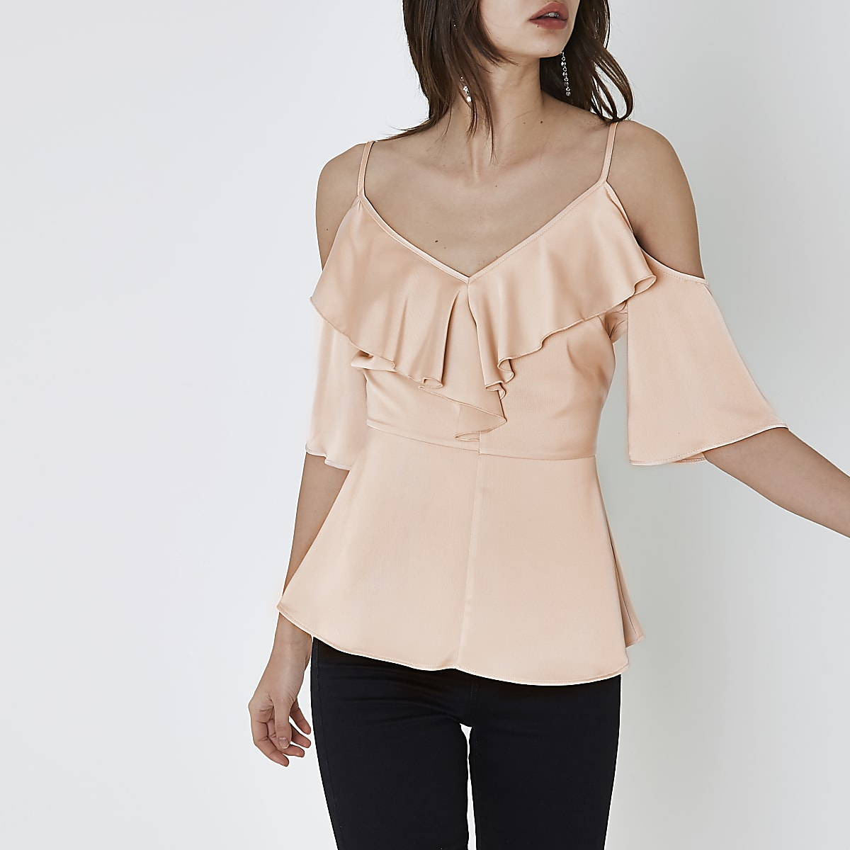 4970c585d47fb Light pink frill cold shoulder top - Bardot   Cold Shoulder Tops - Tops -  women