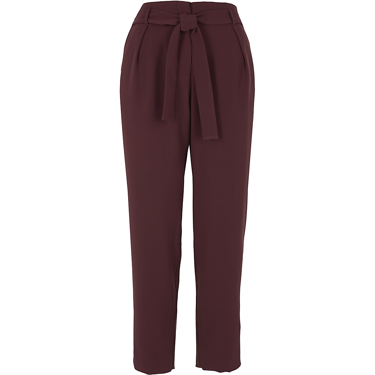 Burgundy tie waist tapered trousers