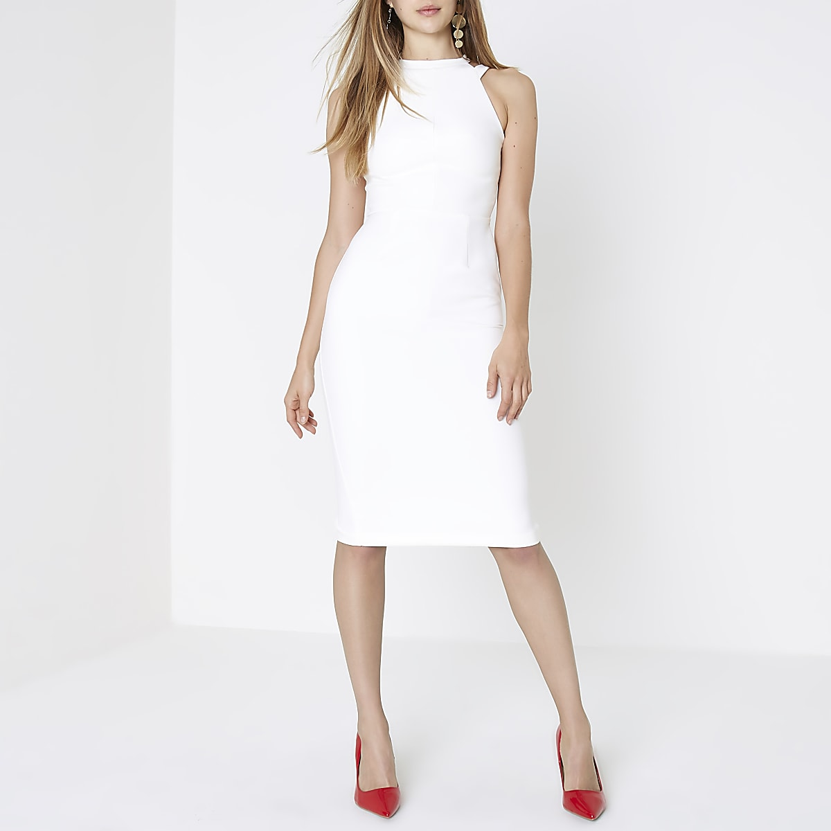 Cream bow back midi bodycon dress