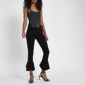 Black Amelie frill flare hem skinny jeans