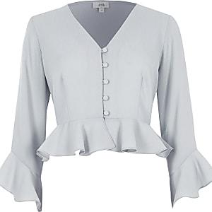 Light grey frill sleeve crop top