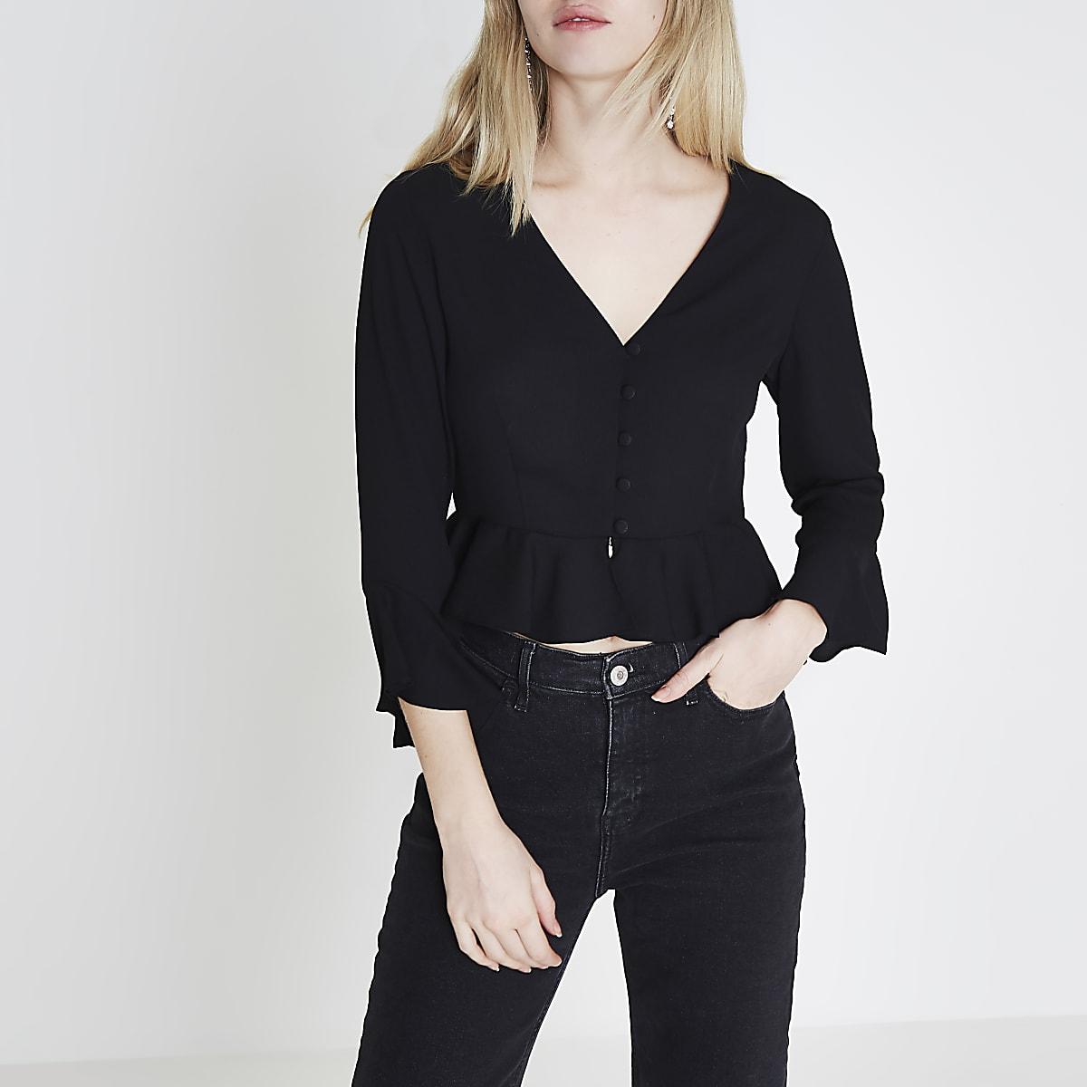 Black frill sleeve crop top