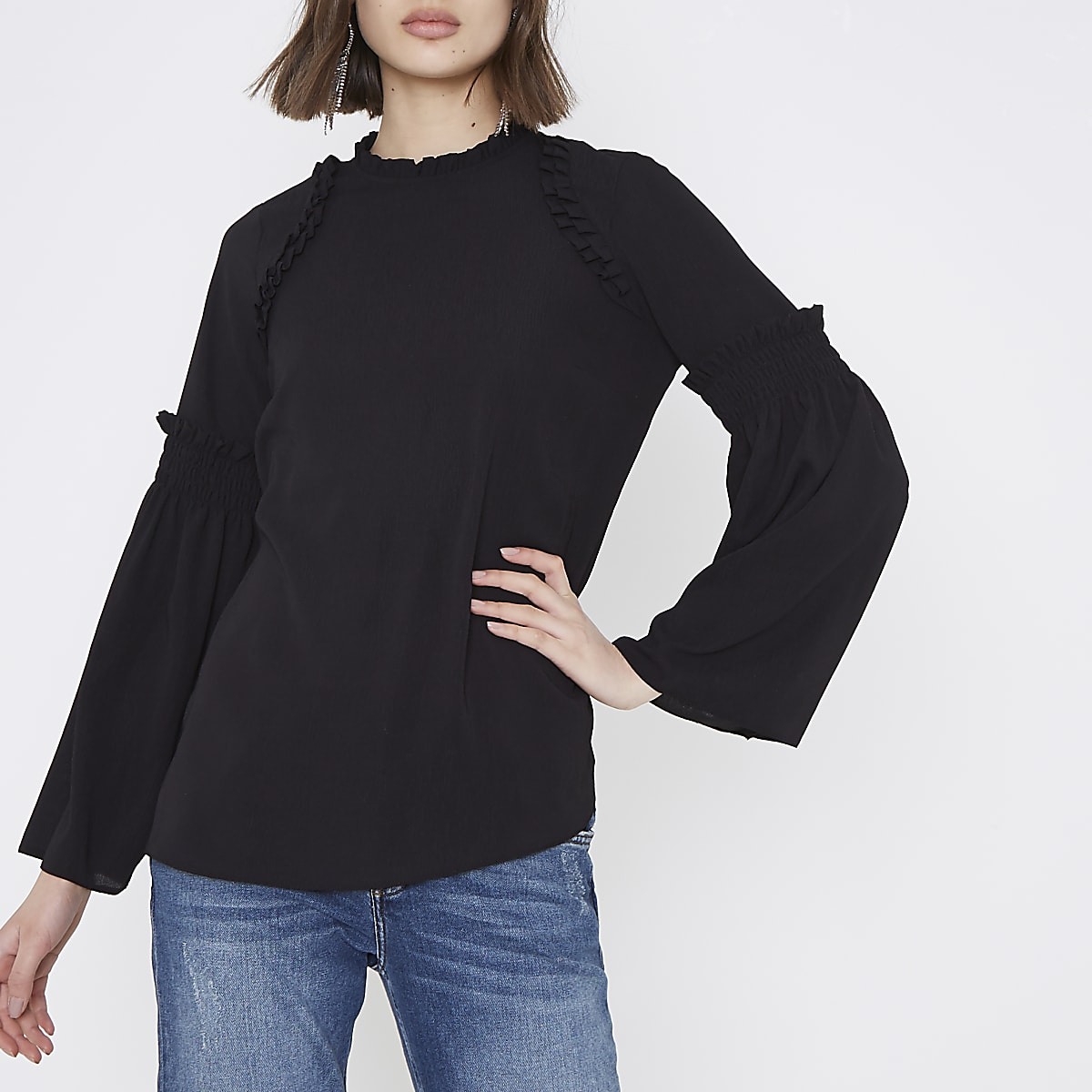 Black high neck frill bell sleeve blouse