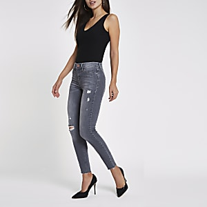 Grey Molly ripped skinny jeggings