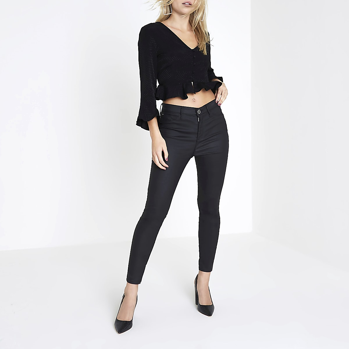 Petite black textured polka dot frill blouse