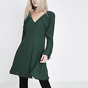 Petite dark green long sleeve tea dress